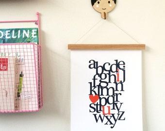 Alphabet I love you Fine Art Print, Giclee Fine Art Print, 11x14