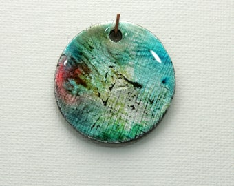 Summer Colors Polymer Clay Alcohol Inks Round Pendant Turquoise Charm Caribbean Blue Resin Finish Blue Green Metallic Dainty Drop