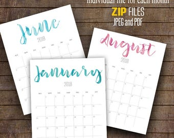 "2018 Printable Calendar, minimalist calendar, 8"" x 10"" Monthly Printable planner, Instant Download ZIP files A112"