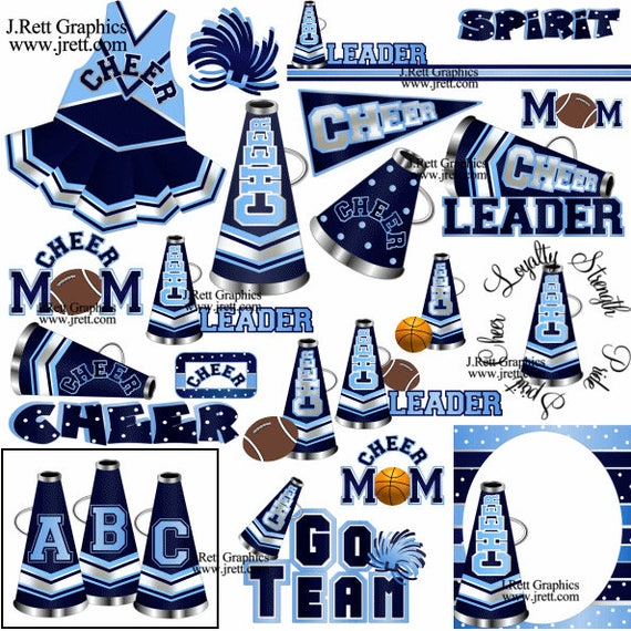 Blau Cheerleader Clipart viele Farben Marine hellblau blau