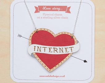 Internet necklace, I love internet, Internet addict, Geek jewellery, Millennial  jewelry, Heart internet, Generation Y, Millennial necklace