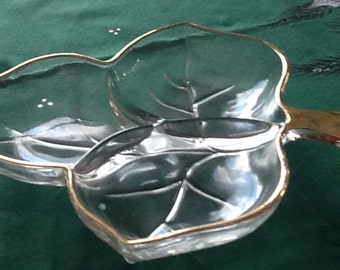 Glass Leaf Candy Dish with Gold Edge