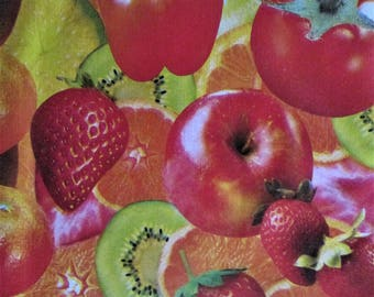 Vinyl Flannel Backed Apple Print Fabric 1 yd. 54 inches