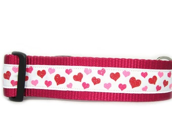 Twinkle Hearts Dog Collar, 1.5 inch wide, buckle or martignale, glitter, pink, white, valentines day, raspberry, sparkle, small, large, XL