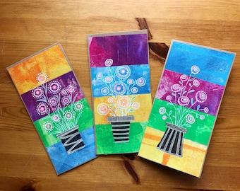Flowers in Pots - Set of 3 Cards - Original Artwork