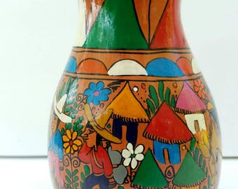 Talavera Pottery Vase Mexican Folk Art Hand Painted Vintage Terracotta Clay Village Life Bright Colors Made In Mexico