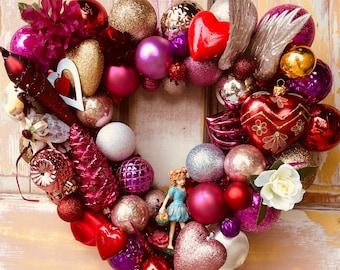 SALE  Valentine ornament wreath; Love wreath; upcycled ornament wreath; salvaged ornament wreath