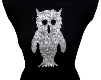 NEW Owl Christmas Applique Design Hot Fix Transfer with Sequins For Sew On Glue On