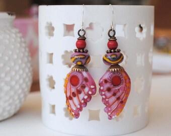 Butterfly Earrings, Pink Wing Earrings, Insect Jewelry, Lampwork Earrings, Nature Inspired Jewelry, Unique Artisan Earrings,