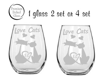 stemless wine glasses,cat wine glass,Love Cats,anniversary gifts,pet glasses,couples Gifts,Christmas gifts,Etched gifts