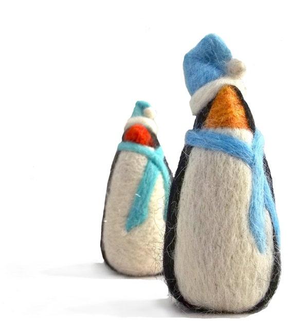 Supplemental Needle Felting fibers, Wintery Penguin
