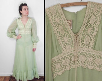 Reserved for K. Gunne Sax Dress Peasant 70s Honeydew Green XS Ethereal Hippie