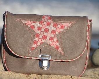 Messenger bag, handbag, shoulder bag, leather, taupe, pink