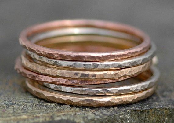 Thin Solid Recycled 14k Gold Stacking Ring- Rose Gold, White Gold, Yellow Gold, Mixed Gold Made to Order