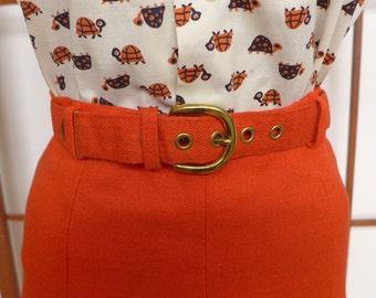 Vintage 60s Orange Linen Pleated Skirt
