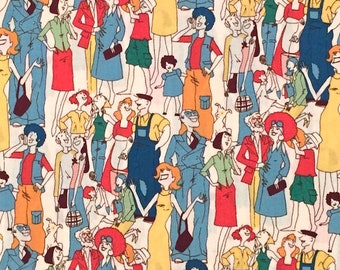 SALE - Neighbors - Alexander Henry - Retro 60's 70's Fabric - Out Of Print OOP VHTF