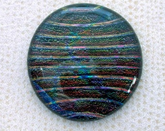 32x35mm Fused Dichroic Glass Cabochons - Raised Multi Colored Stripes - A272