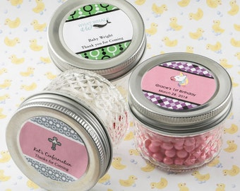 24 Personalized Baby Shower Mason Jelly Jar With Quilted Embossed Design - Set of 24