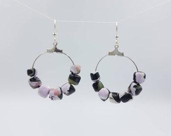 Wabi Sabi Camo, hoop earrings with handmade beadsbeads on silver plated hoops, silver plated surgical steel earwires.