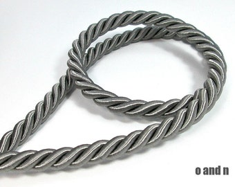 Twisted silk cord, 9mm, grey satin cord, 1 meter