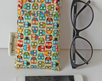 Mini Owls Text Glasses Case or Phone Cover. Perfect Gift for all ages. Other Colours available.