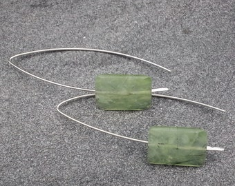 Prehnite Faceted Swing/Wishbone/Threader Earrings