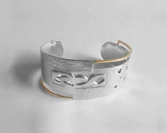 Silver and gold bracelet 14kt / Silver and 14 kt gold cuff