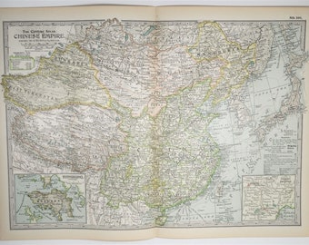 1897 Antique Chinese Empire XL Map