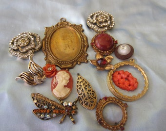 Vintage Brooches - Shabby Chic lot of brooches, jewelry, for repurpose missing some stones and some missing closures, lot of 14 (dec 103)