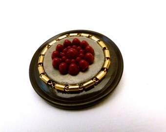 Vintage Layered Button Pin with Golden Chain, P0001