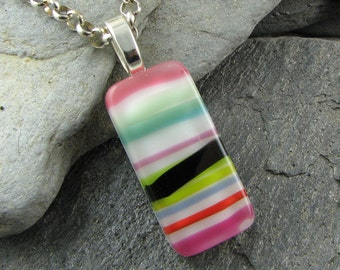 Colorful Fused Glass Pendant. Fused Glass Jewelry. Modern Pendant. Summer Jewelry. Colorful Jewelry. Glass Necklace. Handcrafted in Texas.