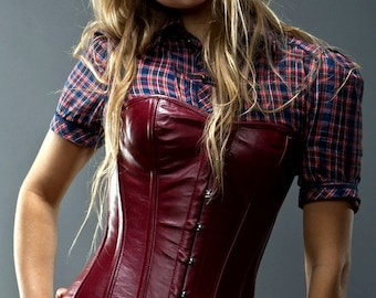 Real sheep leather short overbust steel-boned authentic corset, white, red, black, brown, steampunk, cosplay, gothic, real leather corset