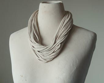 Recycled T-Shirt Necklace Beige
