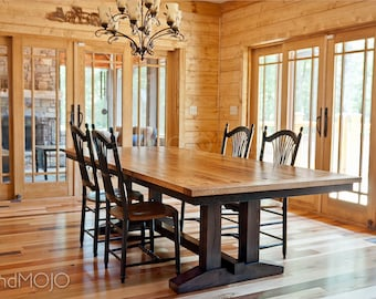 Reclaimed Trestle Dining Table Wormy Chestnut Barnwood Dining Table  Farmhouse Table Reclaimed Wood Table Rustic Dining
