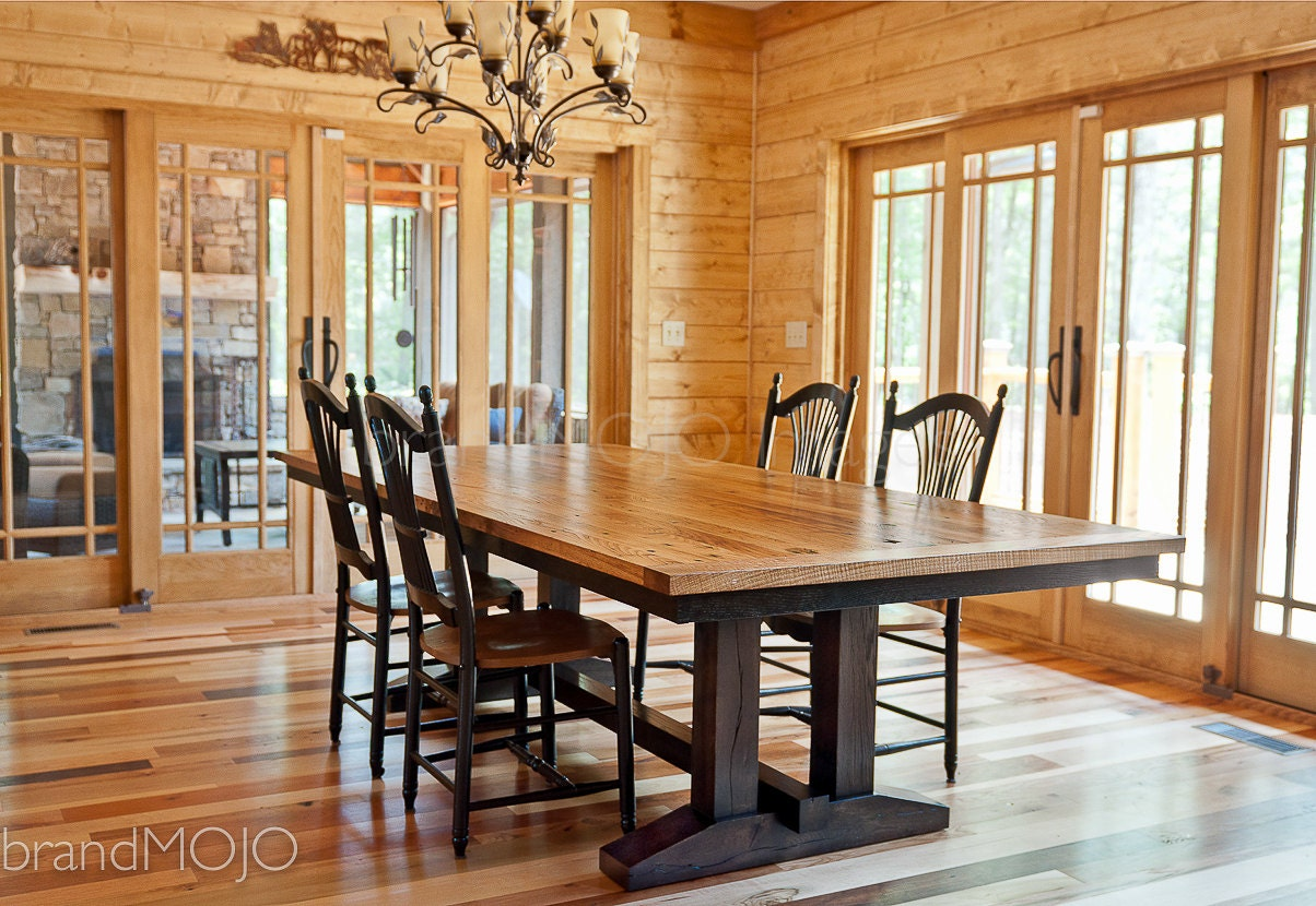 zoom Reclaimed Trestle Dining Table Wormy Chestnut