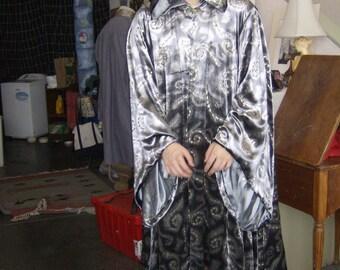Wizard Cloak, velvet hooded cloak, costume cloak, OOAK, Silver and Gold Velvet Spiral Design