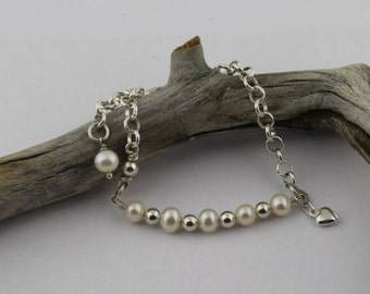 Dainty, Pearl and Sterling Silver Rolo Chain Bracelet with Puffy Heart Charm; One Size Fits All
