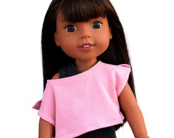 SAMPLE SALE - Fits like Wellie Wishers Doll Clothes - Trendy Off Shoulder Tee in Dusty Rose   14.5 Inch Doll Clothes