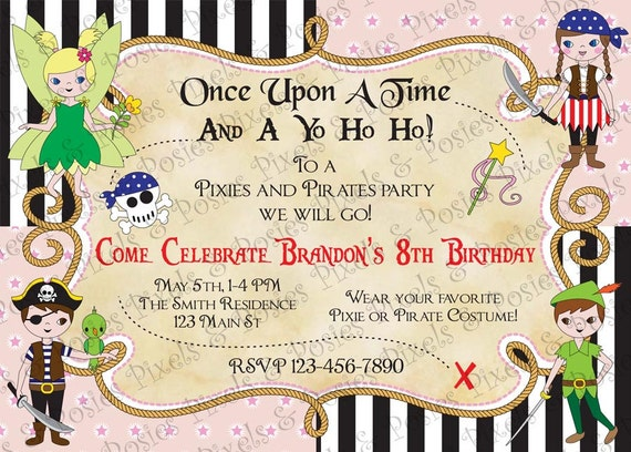 Custom printable invitation print your own pixies and like this item filmwisefo Image collections