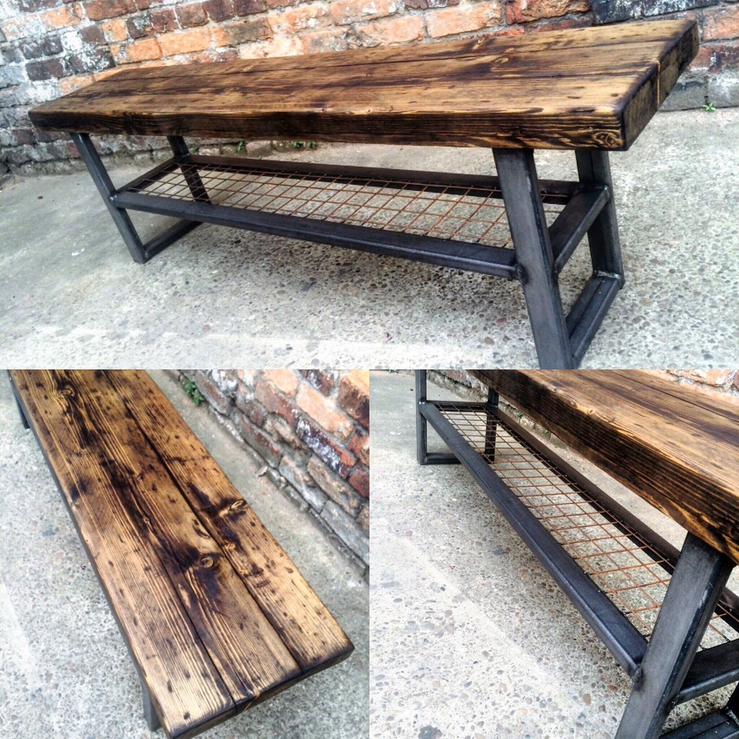Industrial Chic Reclaimed Bench With Wire Shelf Coffee Table # Banc Bois Et Metal