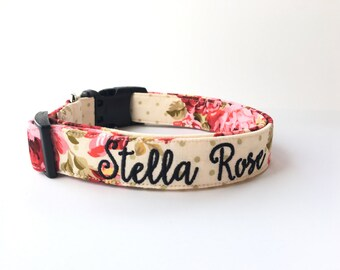 Dog Collar, Embroidered Dog Collar, Personalized Dog Collar, Floral Dog Collar, Collar, rose Collar, flower dog collar