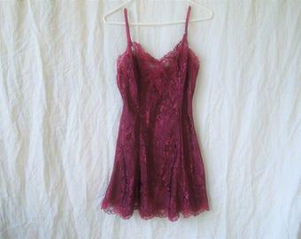 90s Victorias Secret Maroon Lingerie Slip Nightgown Dress