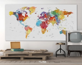 World Map Push Pin, Extra Large Canvas Print, Watercolor World Map, Push Pin World Map, Push Pin Travel Map, Wall Decor, Wall Hanging-854