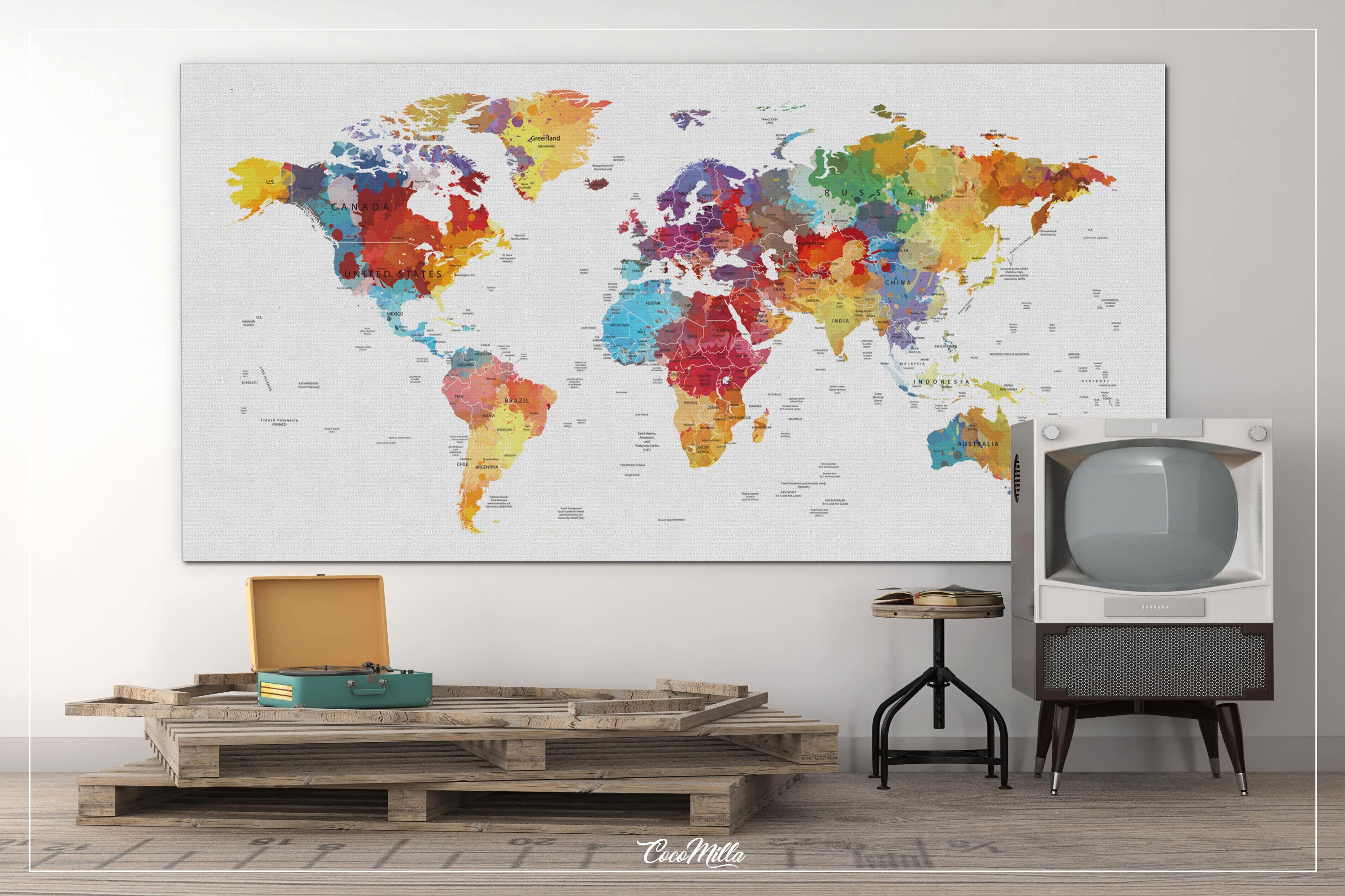 World map push pin extra large canvas print watercolor world zoom gumiabroncs Gallery