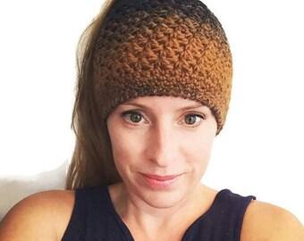 Messy Bun Hat/ Ponytail Hat, Ombre Messy Bun Beanie