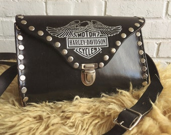 Vintage Harley Davidson studded leather purse
