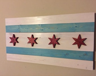 Chicago Flag - stained wood
