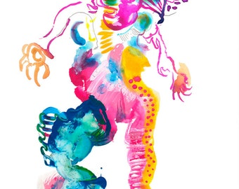 """Original Abstract Watercolor Figure Painting featuring Bright Colorful Dancer Illustration, 9"""" x 12"""" - A06"""
