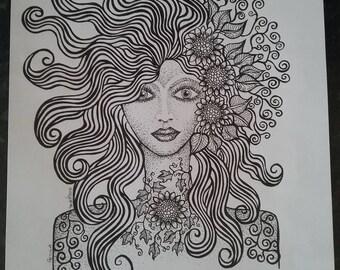 Petula. A print. A lady of sunflowers leaves and swirls.