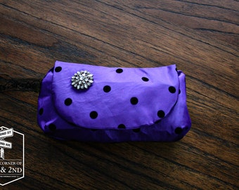 Purple Polka-Dot Wristlet - Bridesmaid Clutch - Clutch Purse - Bridal Clutch - Clutch Bag - Wedding Clutch